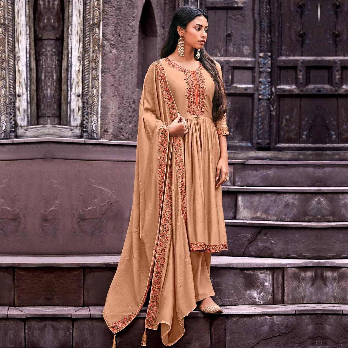 Mesmerising Beige Colored Embroidered Handwork Party Wear Cotton Silk Suit