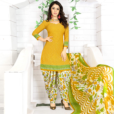 Ravishing Yellow Colored Casual Wear Printed Crape Semi Patiyala Dress Material