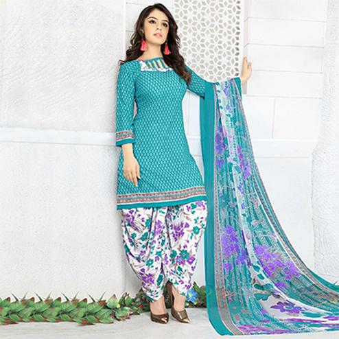 Charming Turquoise Green Colored Casual Wear Printed Crape Semi Patiyala Dress Material