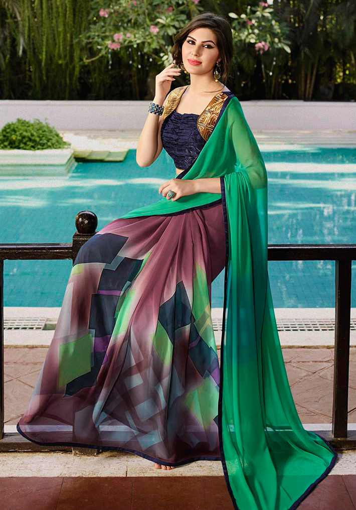 Green - Dark Purple Printed Saree