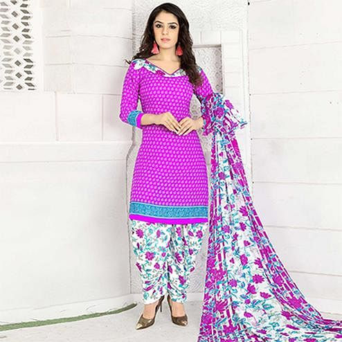 Hot Pink Colored Casual Wear Printed Crape Semi Patiyala Dress Material