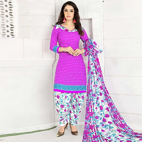Hot Pink Colored Casual Wear Printed Crape Semi Patiala Dress Material