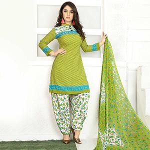 Gorgeous Parrot Green Colored Casual Wear Printed Crape Semi Patiyala Dress Material