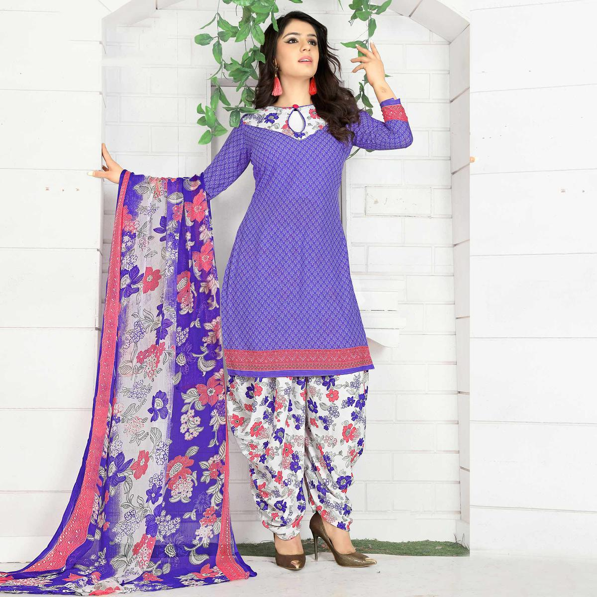 Beautiful Purple Colored Casual Wear Printed Crape Semi Patiyala Dress Material