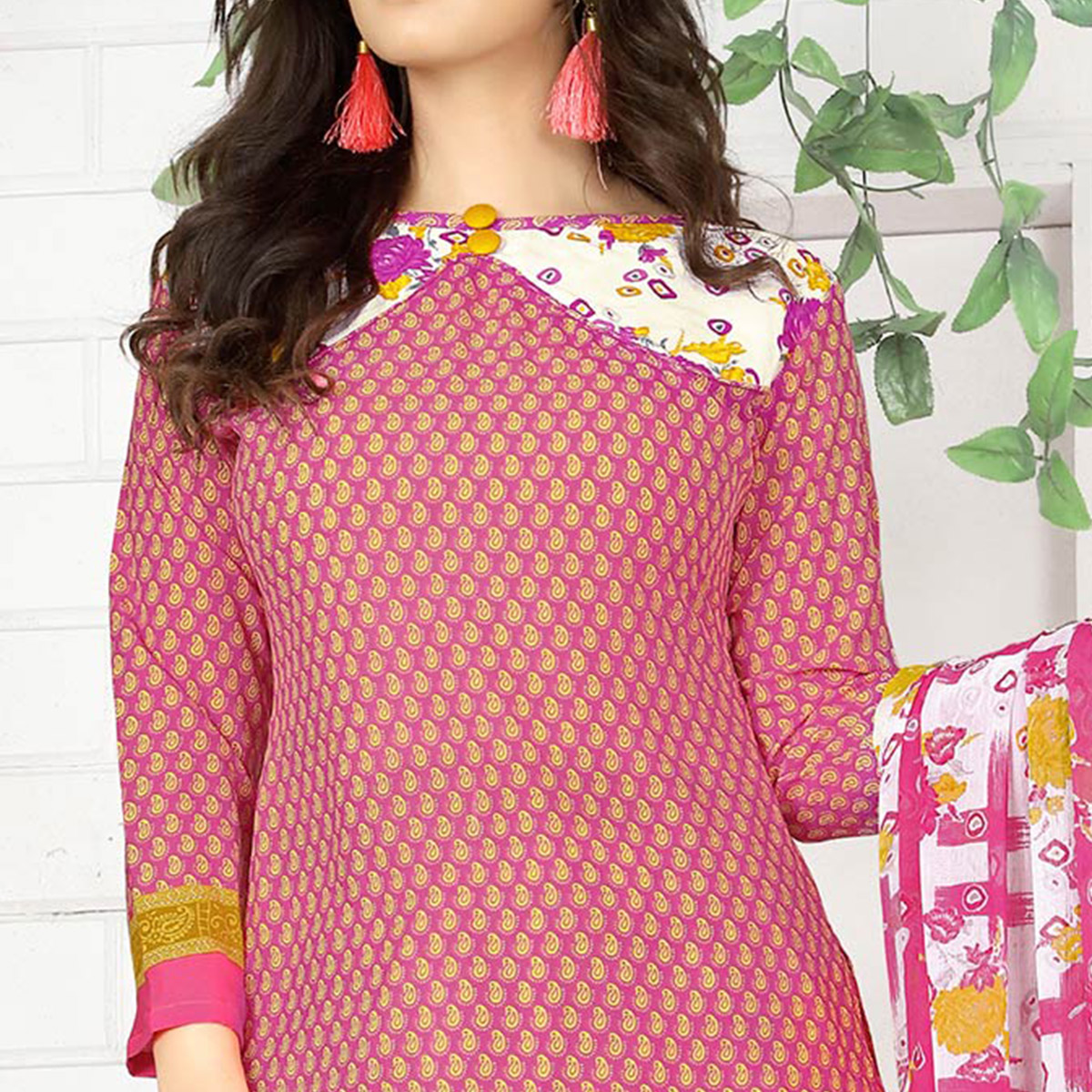Lovely Pink Colored Casual Wear Printed Crape Semi Patiyala Dress Material