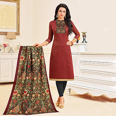 Delightful Maroon Colored Designer Partywear Chanderi Silk Dress Material