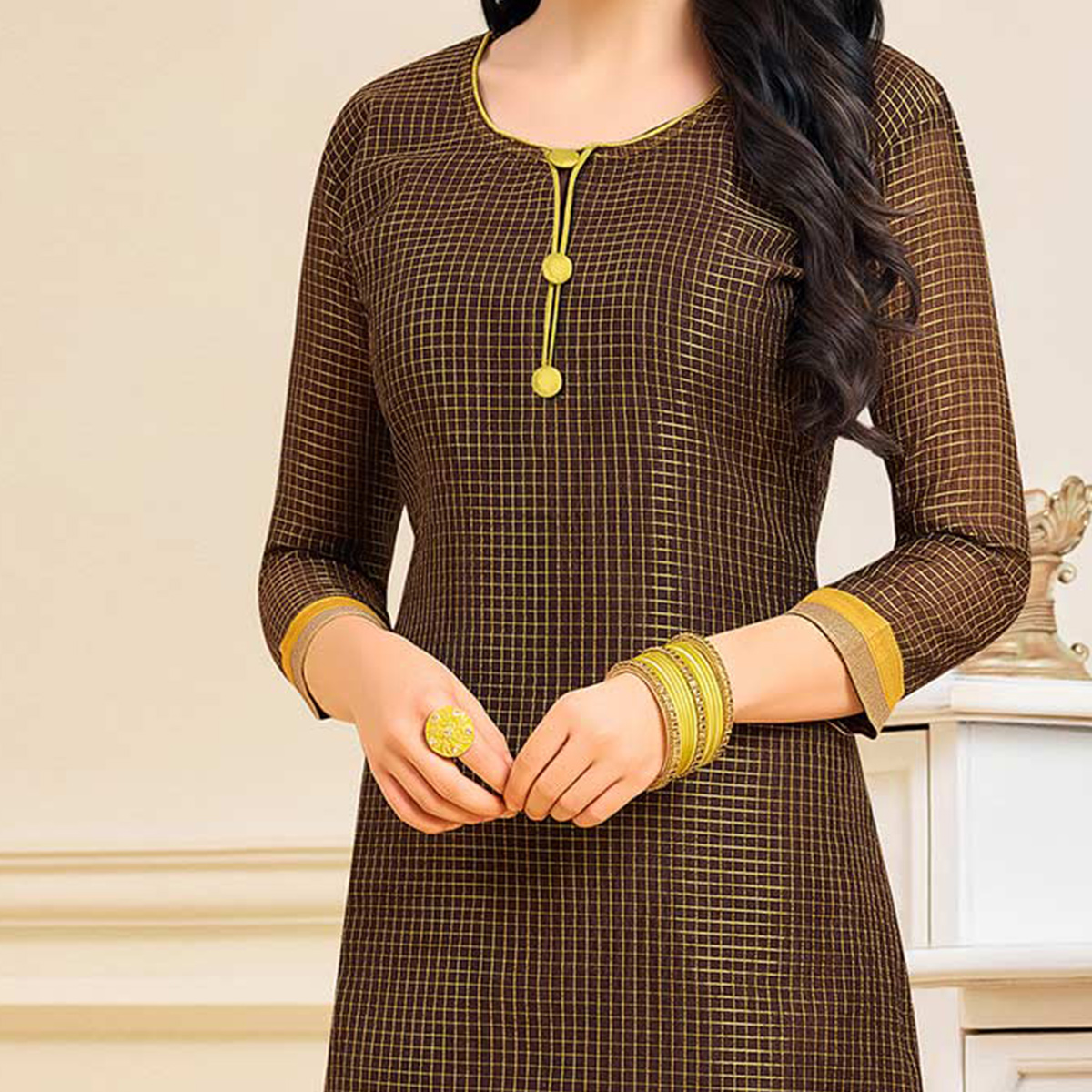 Gorgeous Brown Colored Designer Partywear Chanderi Silk Dress Material