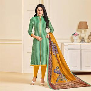 Stylish Green Colored Designer Partywear Chanderi Silk Dress Material