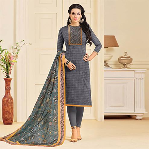 Attractive Gray Colored Designer Partywear Chanderi Silk Dress Material