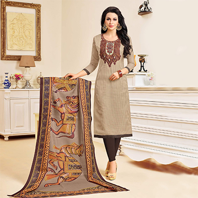 Soulful Beige Colored Designer Partywear Chanderi Silk Dress Material