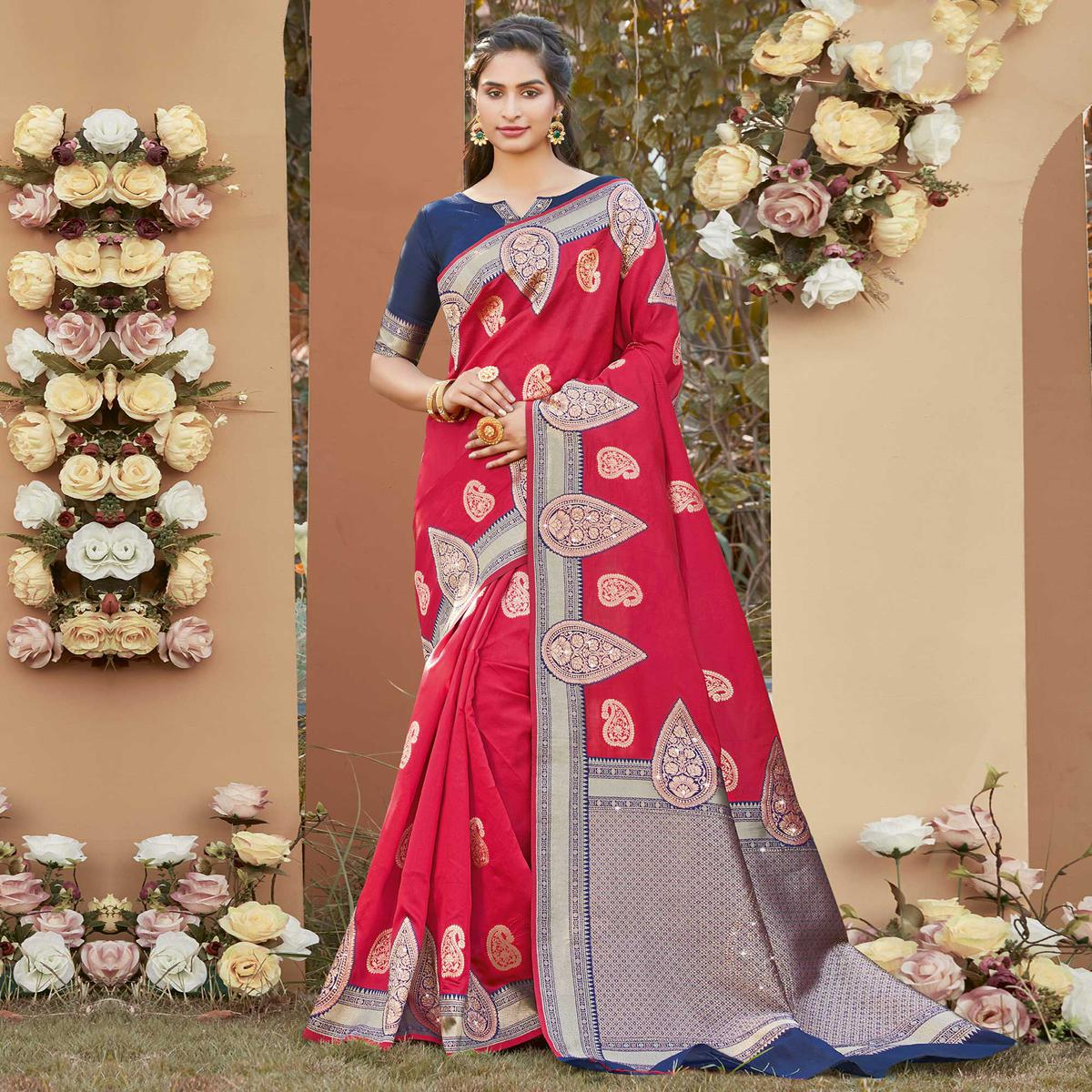 Energetic Red Colored Festive Wear Woven Silk Saree