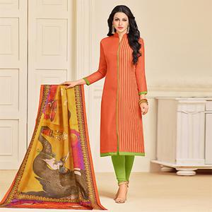Stunning Orange Colored Designer Partywear Chanderi Silk Dress Material