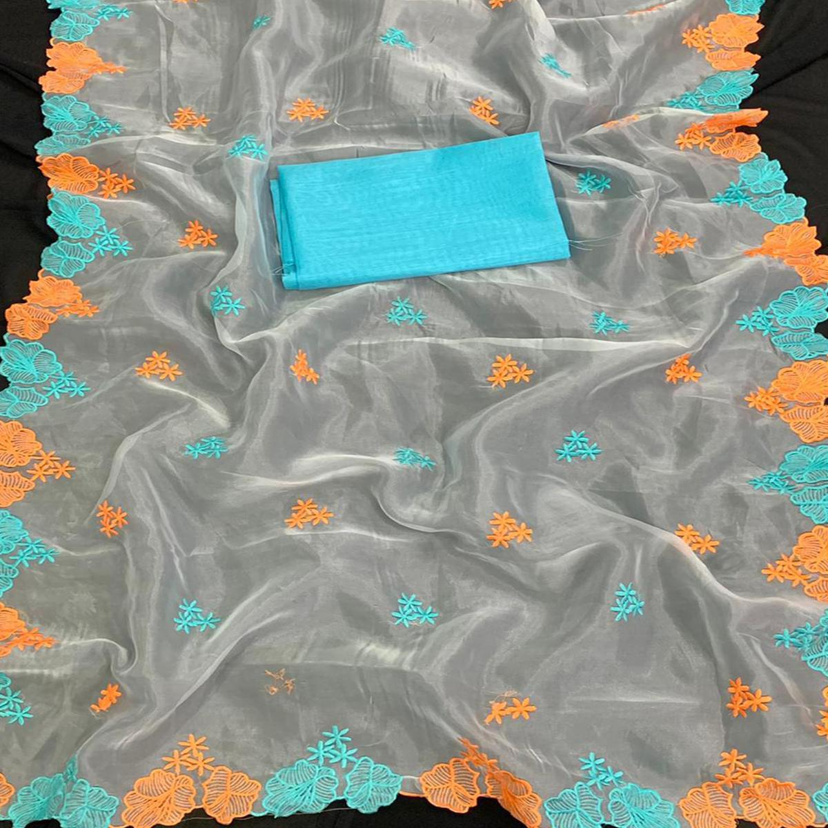 Exotic White - Blue Colored Partywear Embroidered Pure Organza Saree