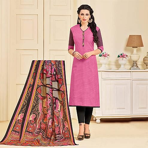 Beautiful Pink Colored Designer Partywear Chanderi Silk Dress Material