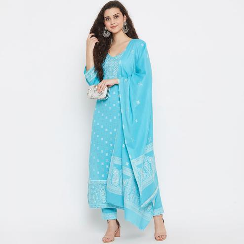 Safaa - Ferozi Cotton Woven Zari Design Women Unstitched Dress Material With Dupatta