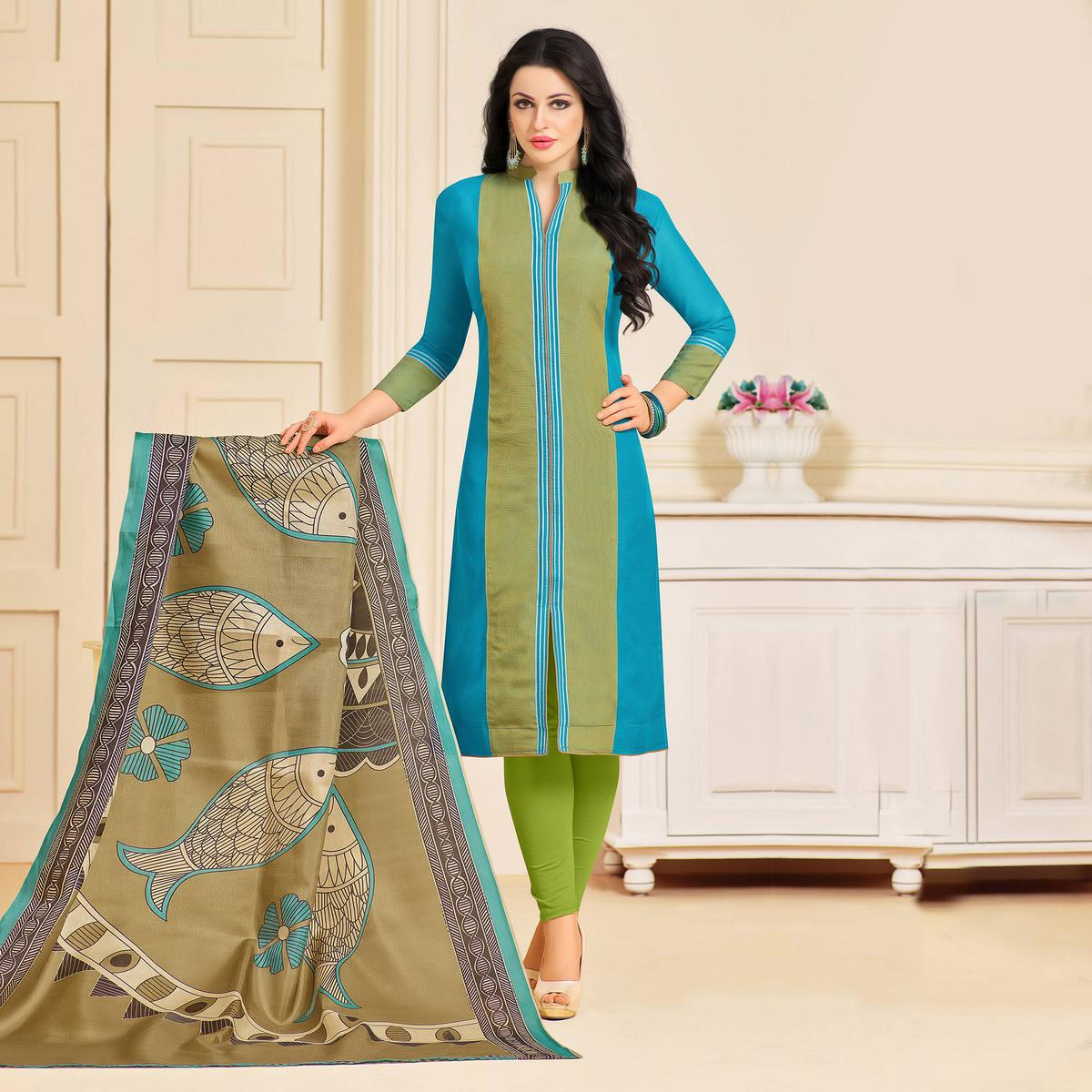 Blooming Blue Colored Designer Partywear Chanderi Silk Dress Material