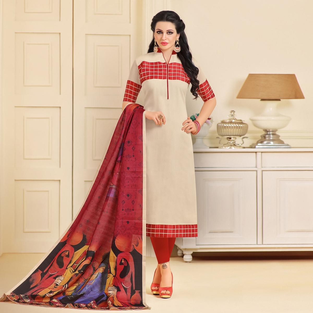 Graceful Cream-Red Colored Designer Partywear Chanderi Silk Dress Material