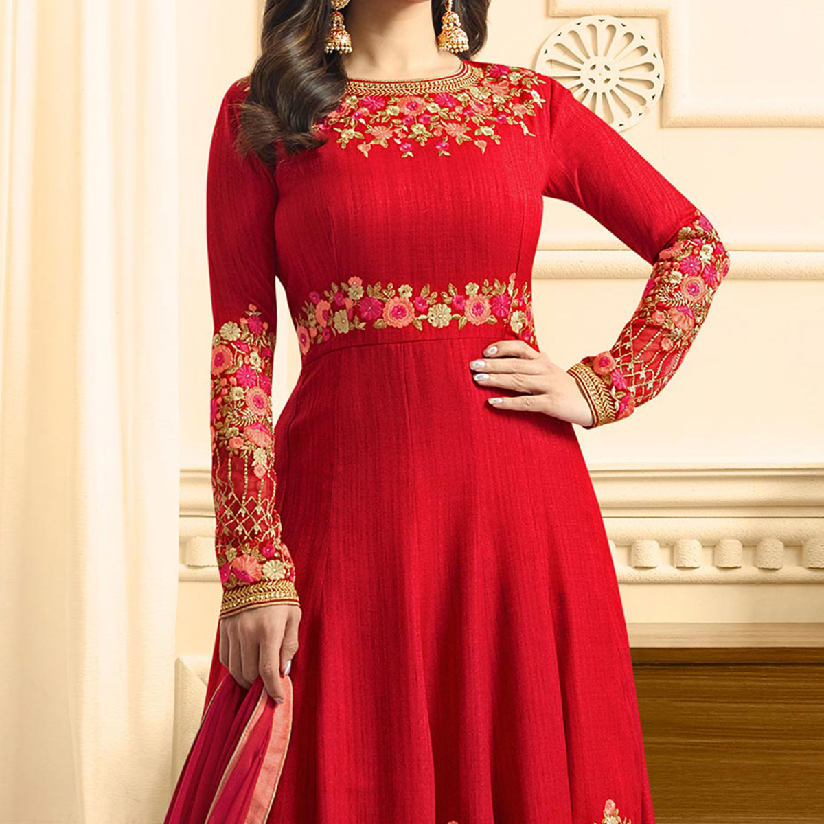 Lovely Red Colored Designer Partywear Suit