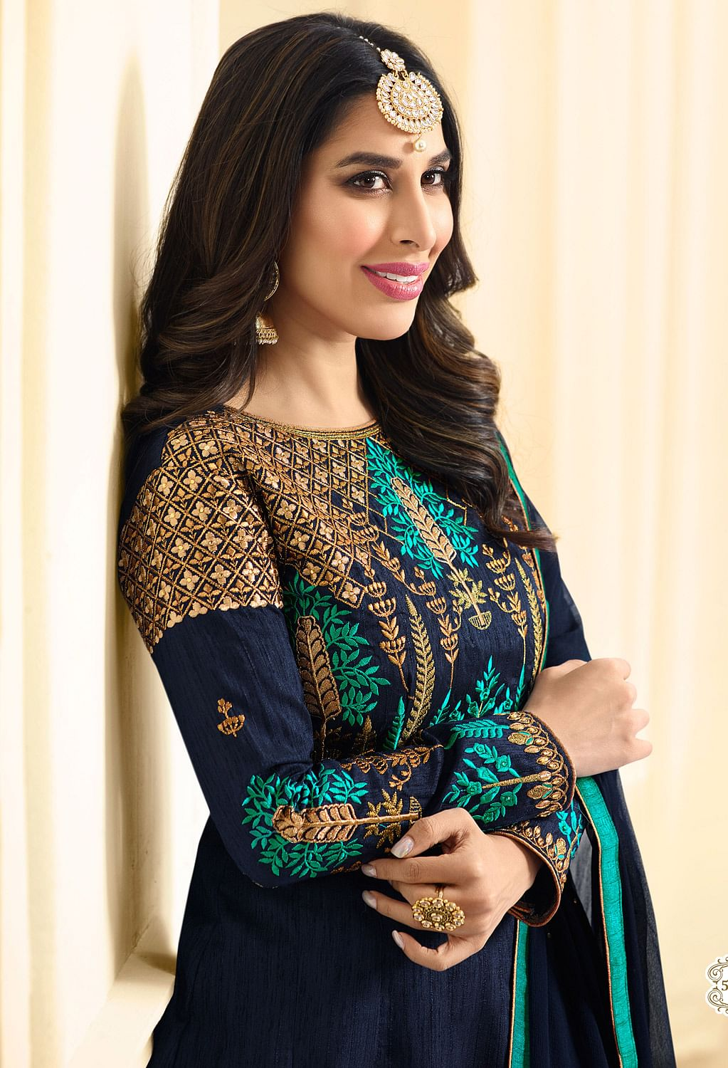 Mesmerizing Navy Blue Colored Designer Party Wear Suit
