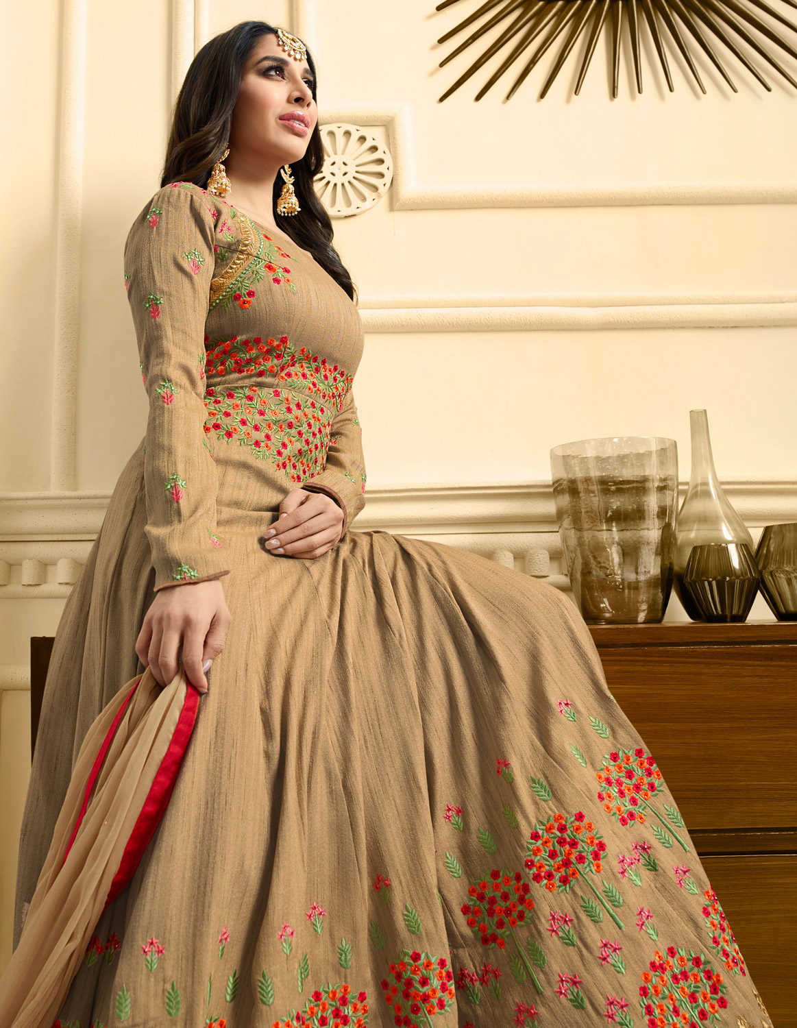Elegant Beige Colored Designer Partywear Suit