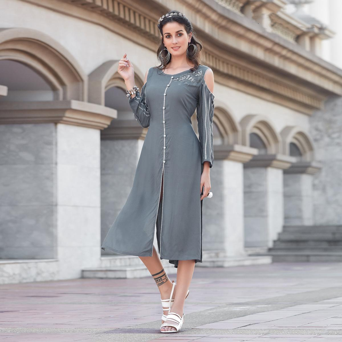 Trendy Grey Colored Casual Rayon Kurti