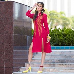Hot Pink Colored Casual Rayon Kurti