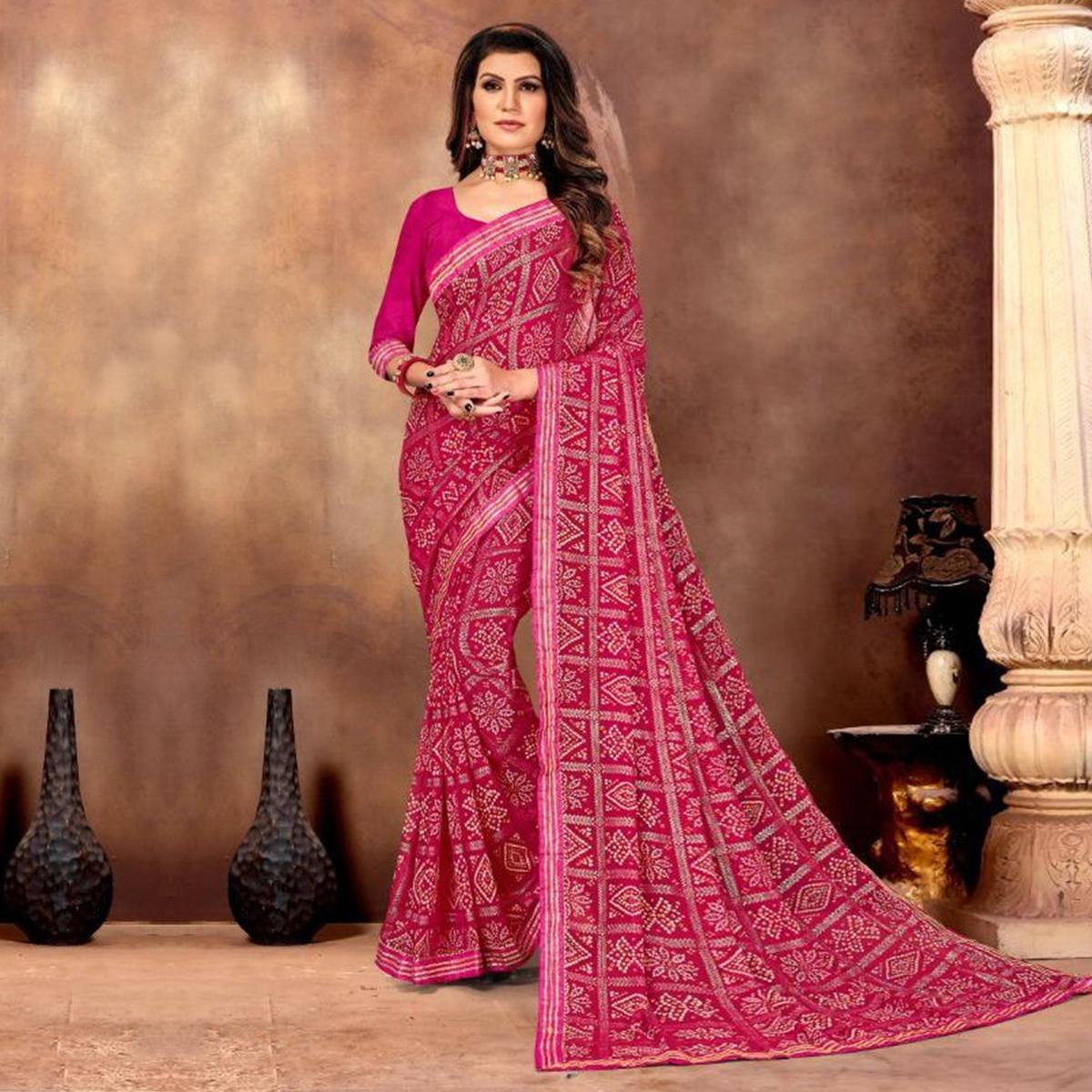 Jazzy Pink Colored Festive Wear Bandhani Print With Gotta Border Heavy Georgette Saree