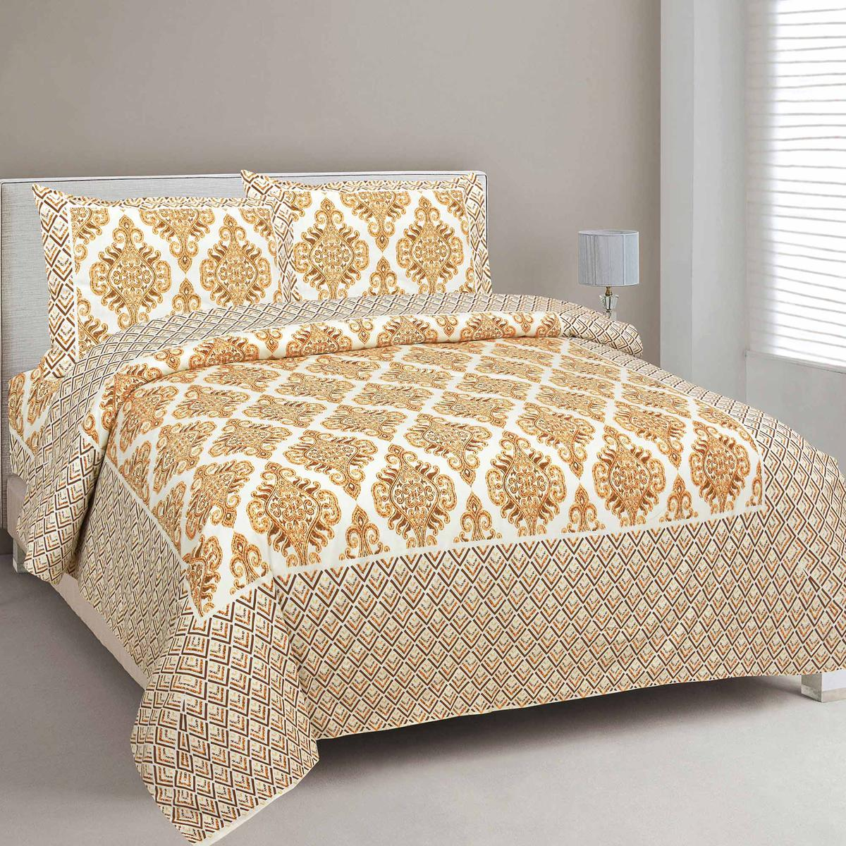 Engrossing Pure Cotton Golden Color Zigzag Border Jaipuri Double Bedsheet with 2 Pillow Cover