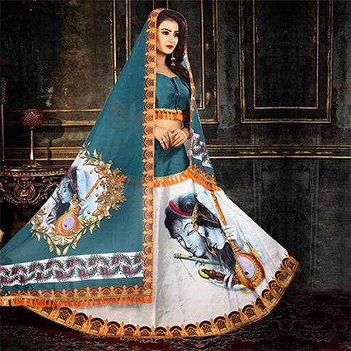 Stunning Stone Blue - White Designer Digital Printed Stitched Tapetta Silk Lehenga Choli
