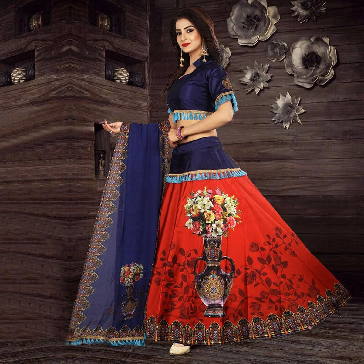cad4d9226c Buy Ravishing Red - Blue Designer Digital Printed Stitched Tapetta Silk Lehenga  Choli for womens online India, Best Prices, Reviews - Peachmode
