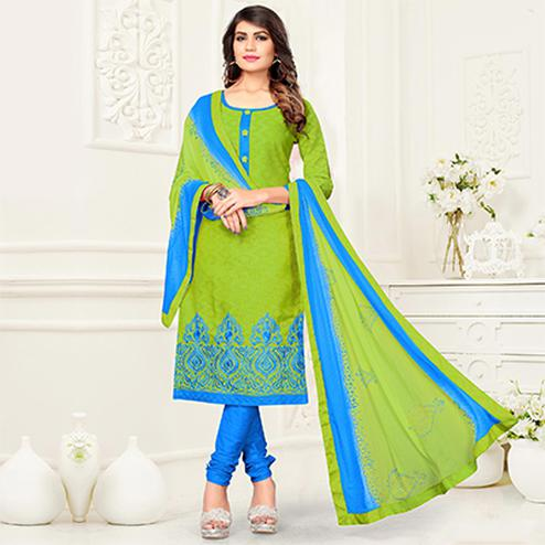 Gorgeous Green - Blue Colored Partywear Cotton Jacquard Suit