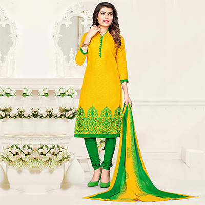 Bold Yellow - Green Colored Partywear Cotton Jacquard Suit