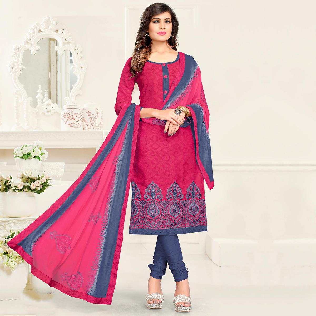 Desirable Pink - Grey Colored Partywear Cotton Jacquard Suit