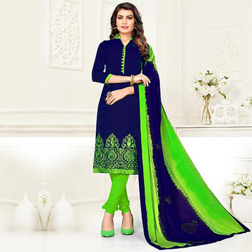 Dazzling Blue - Green Colored Partywear Cotton Jacquard Suit