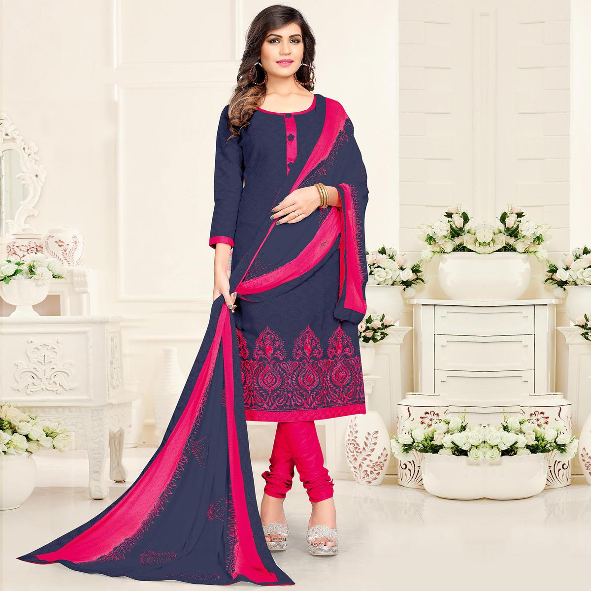 Ethnic Grey - Pink Colored Partywear Cotton Jacquard Suit