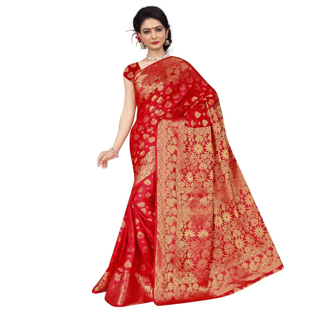 Red Weaving Work Banarasi Silk Saree