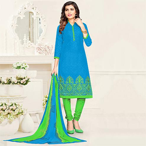 Ravishing Light Blue - Green Colored Partywear Cotton Jacquard Suit