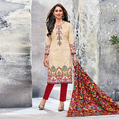 Beige-Red Colored Casual Wear Printed Jetpur Cotton Dress Material