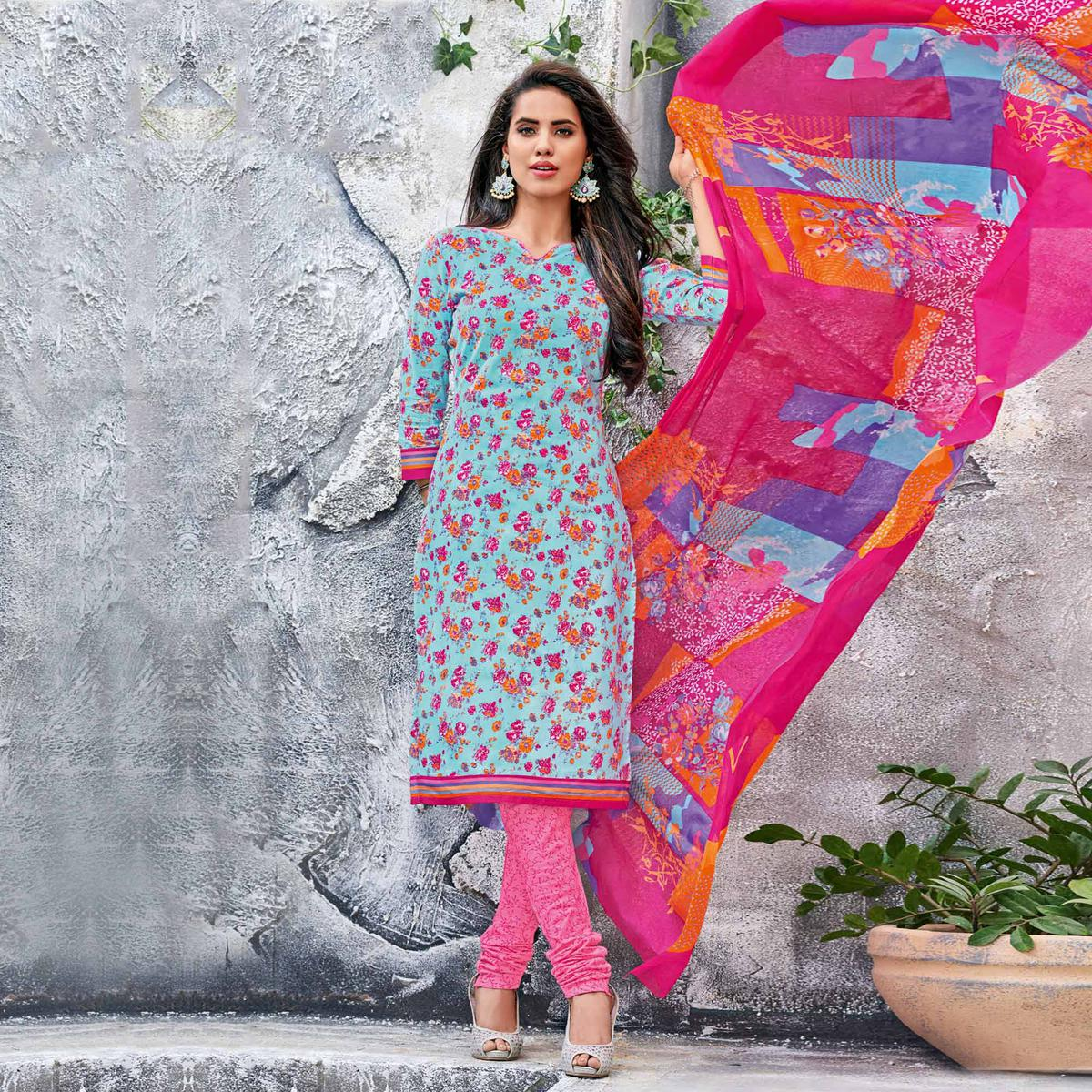 Blue-Pink Colored Casual Wear Printed Jetpur Cotton Dress Material