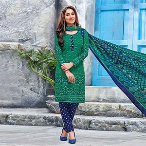 Green-Blue Colored Casual Wear Printed Jetpur Cotton Dress Material