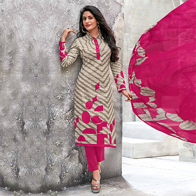 Cream-Pink Colored Casual Wear Printed Jetpur Cotton Dress Material