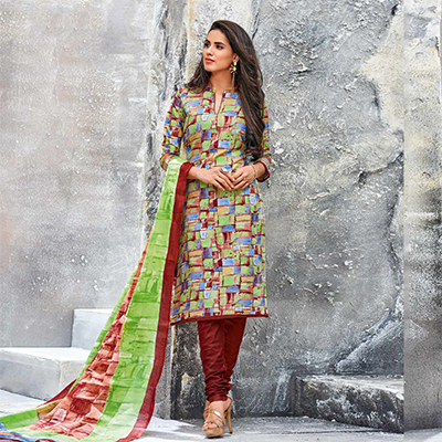 Multi Colored Casual Wear Printed Jetpur Cotton Dress Material