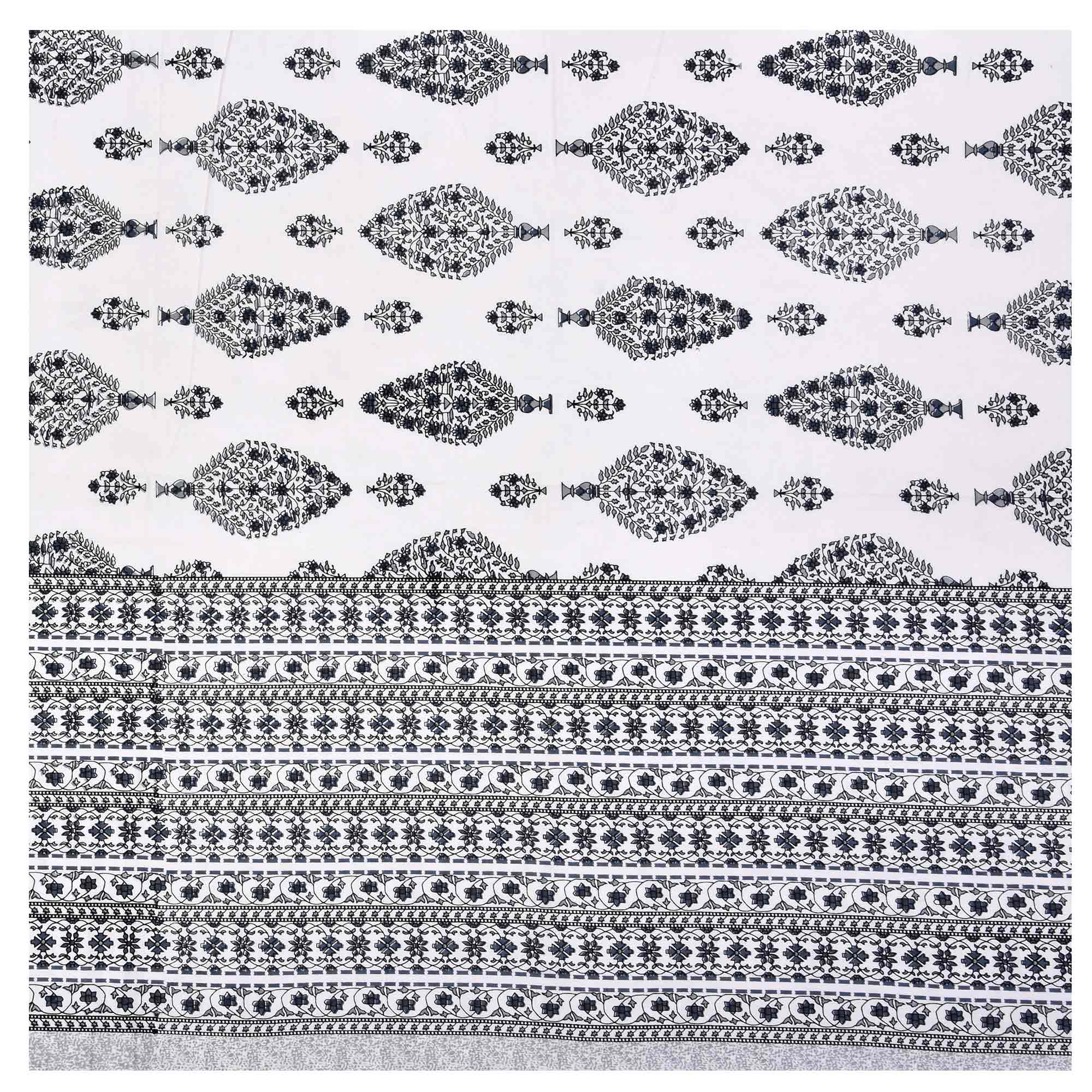 eCraftIndia - 144 TC Pure Cotton Premium Ethnic Jaipuri Print Double Bed Bedsheet (90 In x 108 In) with 2 pillow cover - Grey