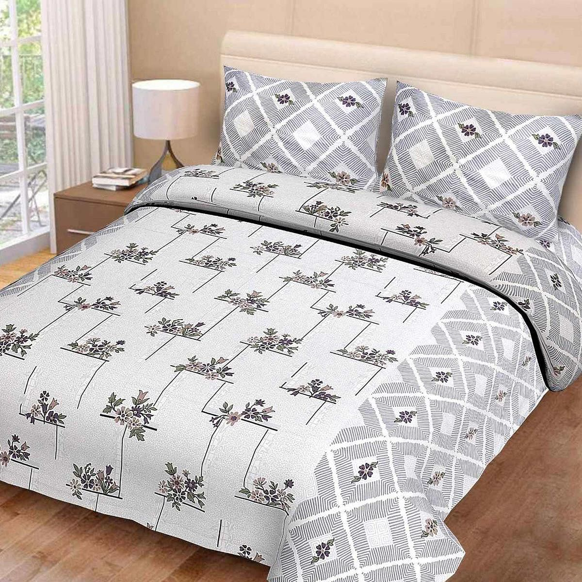 eCraftIndia - 144 TC Pure Cotton Floral Print Double Bed Bedsheet (90 In x 108 In) with 2 pillow cover - Grey