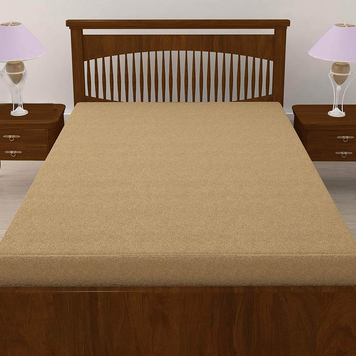 eCraftIndia - 100% Waterproof Terry Cotton Fitted Mattress Protector for King Size Bed (78 x 72 Inch, Beige)