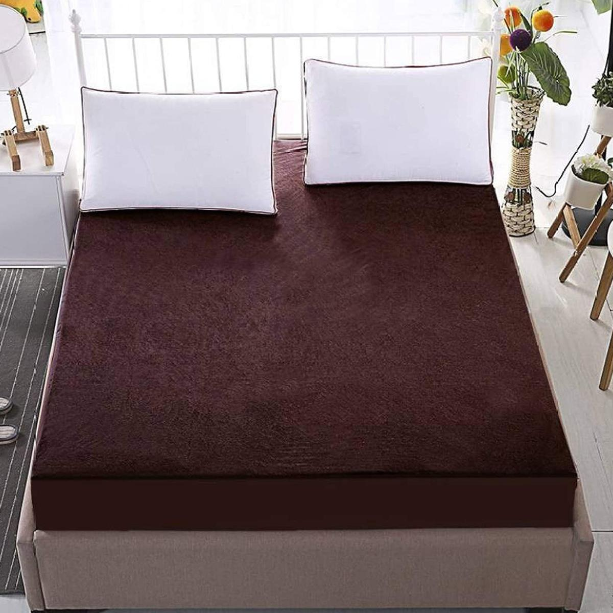 eCraftIndia - 100% Waterproof Terry Cotton Fitted Mattress Protector for King Size Bed (78 x 72 Inch, Brown)