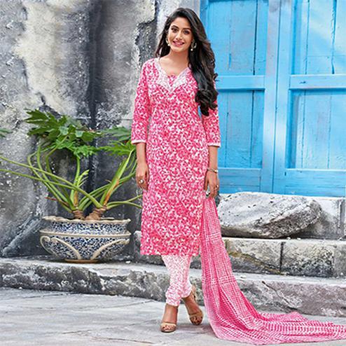 Pink Colored Casual Wear Printed Jetpur Cotton Dress Material