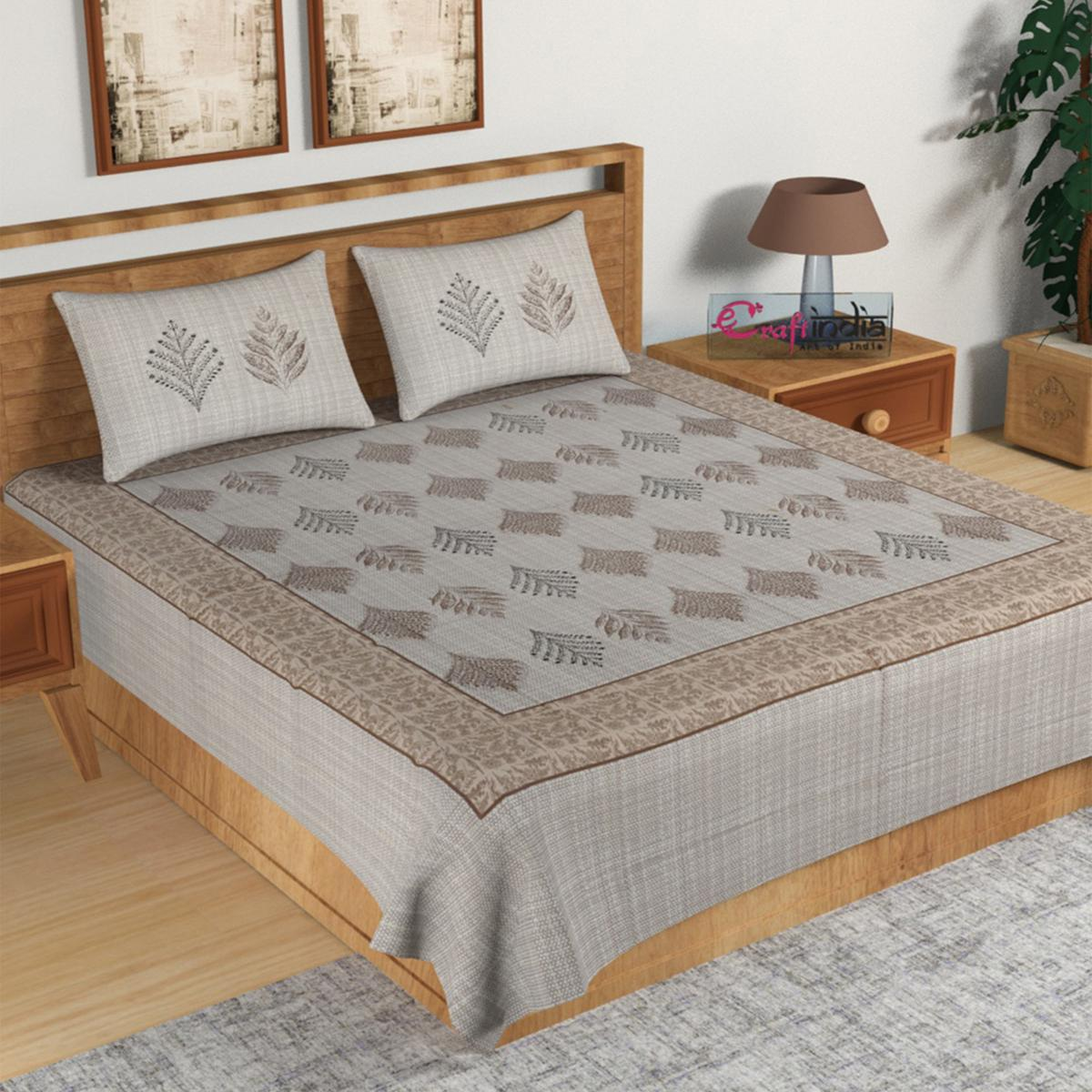 eCraftIndia - 180 TC Pure Cotton Premium Double Bed King Size Leaves Design Bedsheet (100 In x 108 In) with 2 pillow cover - Brown and Grey
