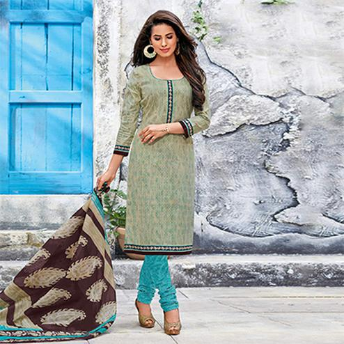 Beige-Blue Colored Casual Wear Printed Jetpur Cotton Dress Material