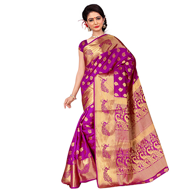 Magenta Banarasi Silk Traditional Saree